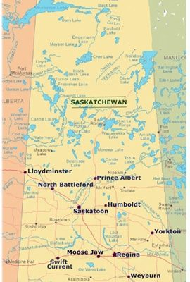 Map of province of Saskatchewan showing cities
