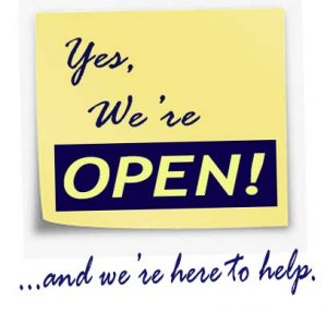 yellow square saying yes we are open and here to help